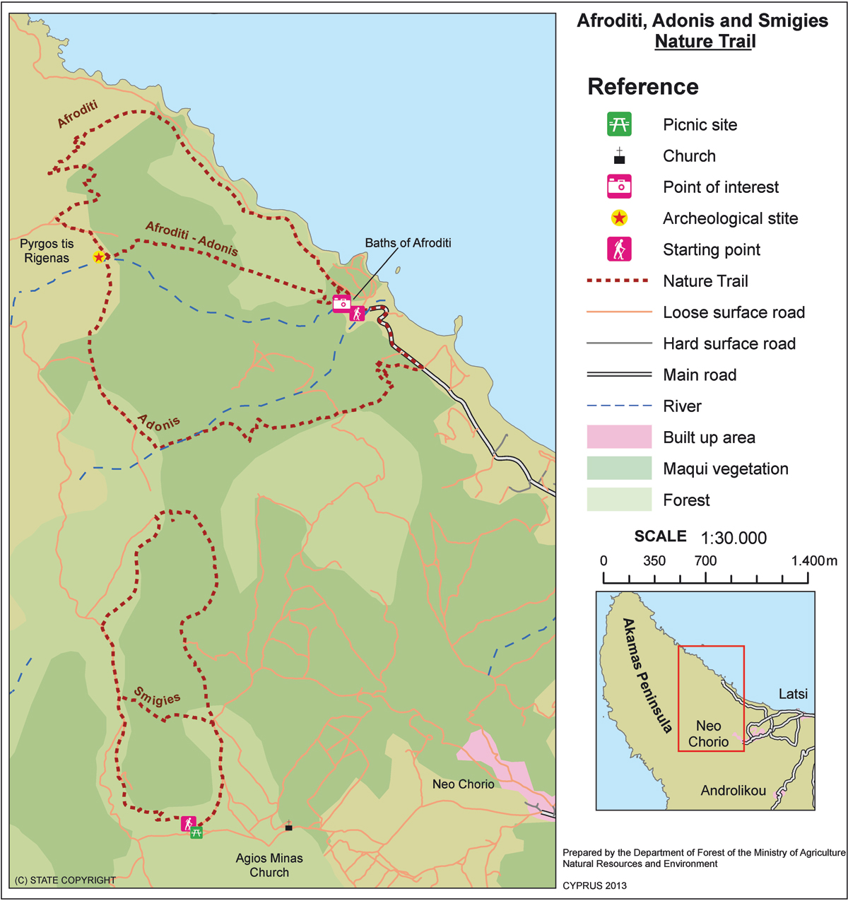 тропа Адониса карта